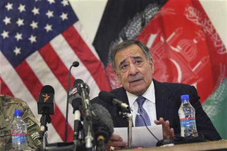 United States Secretary of Defense Leon Panetta holds a news conference at the Kabul airport before departing for the United Arab Emirates March 15, 2012. REUTERS/Scott Olson/Pool