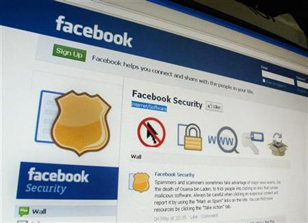 A page from the Facebook website is seen in Singapore May 11, 2011. REUTERS/Tan Shung Sin/Files