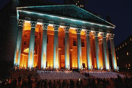 The outside of the New York State Supreme Courthouse is lit for a Vanity Fair party marking the beginning of the 2012 Tribeca Film Festival in New York, April 17, 2012. REUTERS/Lucas Jackson