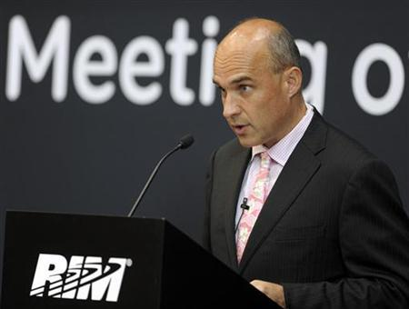 Research In Motion (RIM) co-CEO Jim Balsillie speaks during the annual general meeting of shareholders in Waterloo July 12, 2011. REUTERS/ Mike Cassese