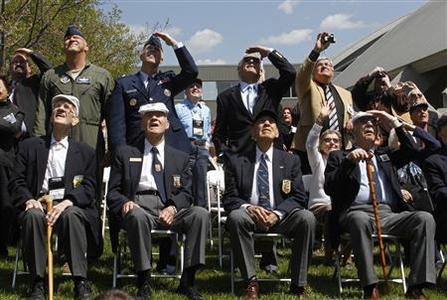 (front row L -R) Maj. Thomas Griffin, Sgt. David Thatcher, Lt. Col. Richard Cole and Lt. Col. Edward Saylor sit at the National Museum of the United States Air Force as four of the last five survivors of the Doolittle Toyko Raid gather for their 70th anniversary reunion in Dayton, Ohio April 18, 2012. REUTERS/Skip Peterson