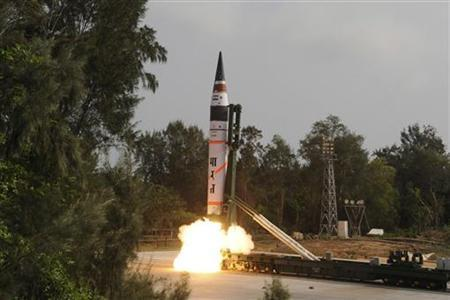 A surface-to-surface Agni V missile is launched from the Wheeler Island off Odisha April 19, 2012. REUTERS/Indian Defence Research and Development Organisation/DRDO/Handout