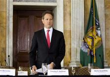 Timothy Geithner, U.S. treasury secretary, arrives for the start of a meeting of the Financial Stability Oversite Council in Washington April 3, 2012. REUTERS/Joshua Roberts