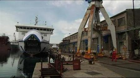 Video screenshot of the bankrupt state-owned shipyard at the Croatian port town of Kraljevica obtained on April 19, 2012. REUTERS/Video