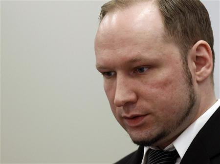 Norwegian mass killer Anders Behring Breivik looks on before the start of the fourth day of his terrorism and murder trial in Oslo April 19, 2012. REUTERS/Stoyan Nenov