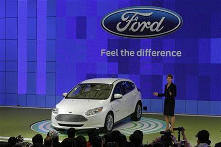 The new Ford Focus is displayed during the opening of the Shanghai Auto Show April 19, 2011. REUTERS/Carlos Barria
