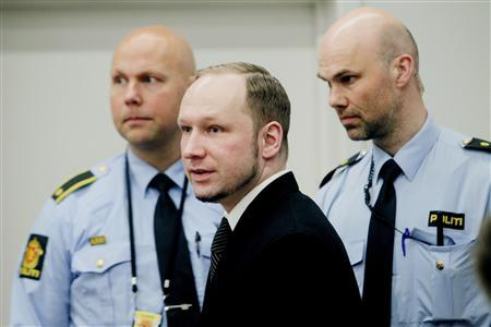 Norwegian anti-Islamic fanatic Anders Behring Breivik is seen during the fourth day of proceedings in courtroom 250 in the courthouse in Oslo April 19, 2012. REUTERS/Stian Lysberg Solum/ Scanpix/Pool