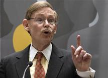 "World Bank President Robert Zoellick speaks at an event on ""Social Safety Nets"" building in Washington April 18, 2012. REUTERS/Yuri Gripas"