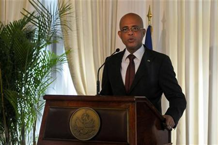 Haiti's President Michel Martelly addresses a news conference inside the National Palace in Port-au-Prince March 5, 2012. REUTERS/Swoan Parker