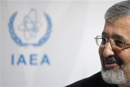 Iran's International Atomic Energy Agency (IAEA) ambassador Ali Asghar Soltanieh briefs the media during a board of governors meeting at the United Nations headquarters in Vienna March 8, 2012. REUTERS/Herwig Prammer