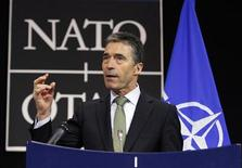 NATO Secretary General Anders Fogh Rasmussen holds a news conference at the end of a NATO Foreign Ministers meeting in Brussels April 19, 2012. REUTERS/Sebastien Pirlet