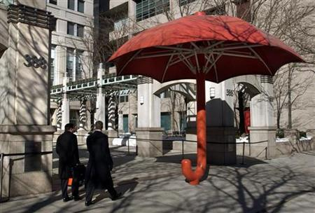 The Travelers Companies' umbrella is seen in New York in a 2005 file photo. REUTERS/Chip East