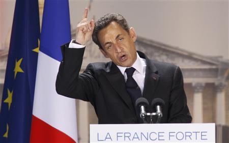 France's President and UMP party candidate for the 2012 French presidential elections Nicolas Sarkozy, addresses a political rally on the place de la Concorde in Paris, April 15, 2012. REUTERS/Gonzalo Fuentes