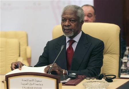 U.N.-Arab League special envoy Kofi Annan attends a meeting of a committee of ministers from the Arab League in Doha, to discuss the situation in Syria April 17, 2012. REUTERS/Stringer