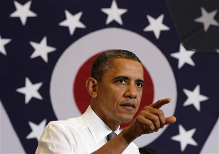U.S. President Barack Obama delivers remarks on job creation at Lorain County Community College in Elyria, Ohio, April 18, 2012. REUTERS/Jason Reed