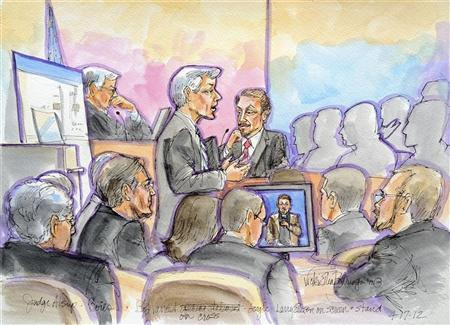Oracle Chief Executive Larry Ellison (center R) is pictured being questioned by Google attorney Robert Van Nest during the second day of trial over patents involving Java - an ''open-source'' software programming language in a courtroom sketch in San Francisco, California April 17, 2012. U.S. District Judge William Alsup (center L) is also pictured. The chief executives of Oracle Corp and Google Inc took the stand in court on Tuesday but delivered no bombshells as Google's lawyers argued Oracle is trying to hitch a ride on Google's success after abandoning the idea of building its own smartphone. REUTERS/Vicki Behringer