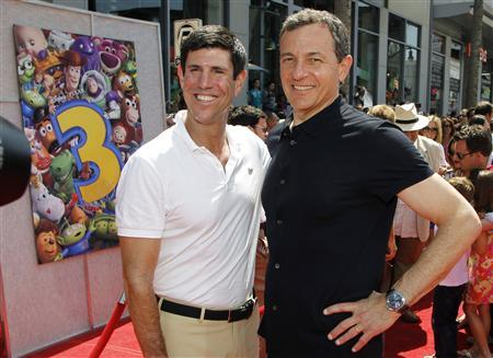 Walt Disney Studios Chairman Rich Ross (L) and Walt Disney Company President and Chief Executive Officer Bob Iger pose together at the world premiere of Disney Pixar's ''Toy Story 3'' at the El Capitan Theatre in Hollywood, California in this June 13, 2010 file photo. REUTERS/Danny Moloshok/Files