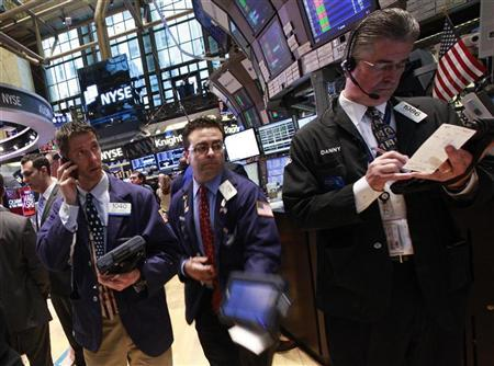 Traders work on the floor of the New York Stock Exchange April 20, 2012. REUTERS/Brendan McDermid