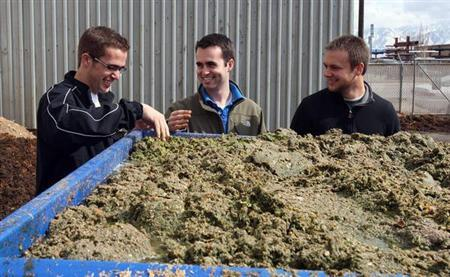 EcoScraps (L-R) co-founder Craig Martineau, co-founder Dan Blake and former colleague Brandon Sargent look at mulched food at the EcoScraps facility in Salt Lake City, Utah, in this handout photo taken in 2011. REUTERS/Handout/EcoScraps