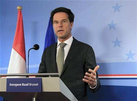 Netherlands' Prime Minister Mark Rutte holds a news conference at the end of a European Union leaders summit in Brussels March 2, 2012 . REUTERS/Yves Herman