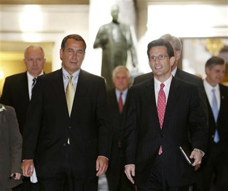 U.S. House Republican Leader John Boehner (2nd L) and Republican Whip Eric Cantor (R) lead the Republican members of Congress into Statuary Hall on the way into the U.S. House of Representatives chamber to begin the vote on health care reform on Capitol Hill in Washington, March 21, 2010. REUTERS/Larry Downing