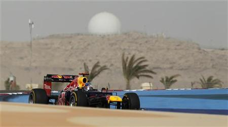 Red Bull Formula One driver Sebastian Vettel of Germany drives during the Bahrain F1 Grand Prix at the Sakhir circuit in Manama April 22, 2012. REUTERS/Steve Crisp