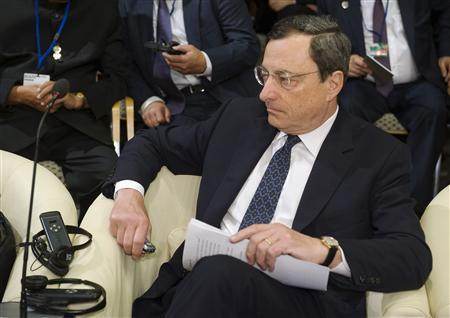 European Central Bank President Mario Draghi takes his seat for an International Monetary and Financial Committee (IMFC) meeting during the spring IMF-World Bank meetings in Washington, April 21, 2012. REUTERS/Jonathan Ernst