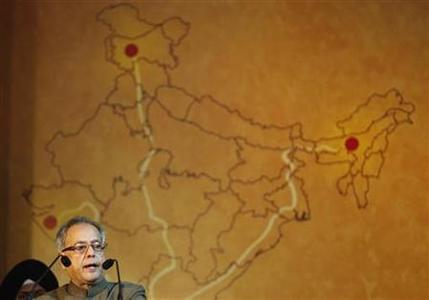 Finance Minister Pranab Mukherjee speaks during the launch of UTI Mutual Fund's Investor Education and Financial Inclusion Initiative in Mumbai July 13, 2010. REUTERS/Danish Siddiqui/Files