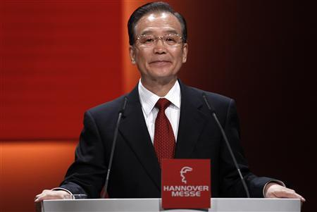 Chinese Premier Wen Jiabao delivers his speech during the opening ceremony of the Hanover fair in Hanover, April 22, 2012. China is this year's partner country of the industrial fair. The Hanover fair open its doors to the public on April 23 and will run to April 27, 2012. REUTERS/Ina Fassbender