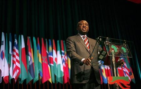 African Development Bank President Donald Kaberuka gives a speech during the opening ceremony of the annual meeting of the bank in Lisbon June 9, 2011. REUTERS/Rafael Marchante