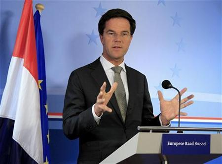 Netherlands' Prime Minister Mark Rutte holds a news conference at the end of a European Union leaders summit in Brussels March 2, 2012. REUTERS/Yves Herman