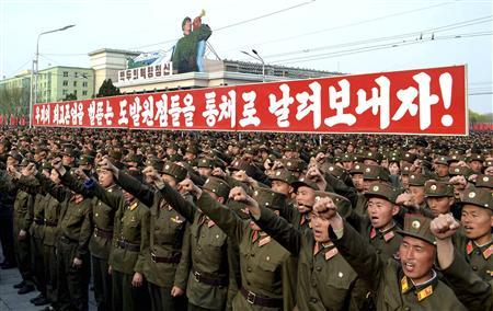 North Korean soldiers attend a rally denouncing South Korean President Lee Myung-bak at the Kim Il Sung Square in Pyongyang April 20, 2012. REUTERS/KCNA