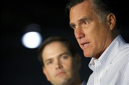 U.S. Republican presidential candidate and former Massachusetts governor Mitt Romney and Florida Senator Marco Rubio address the media before holding a rally at Mustang Expediting in Aston, Pennsylvania, April 23, 2012. REUTERS/Mark Makela