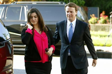Former U.S. Senator John Edwards (R) arrives with his daughter Cate Edwards at the federal courthouse in Greensboro, North Carolina April 23, 2012. REUTERS/Chris Keane