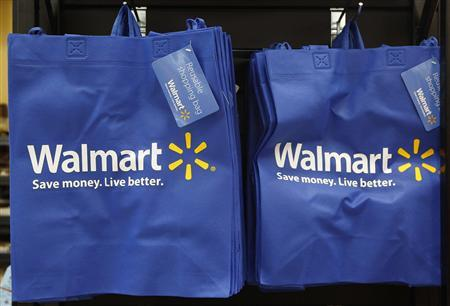 Re-useable Walmart bags are seen in a newly opened Walmart Neighborhood Market in Chicago in this September 21, 2011 file photo. REUTERS/Jim Young/Files