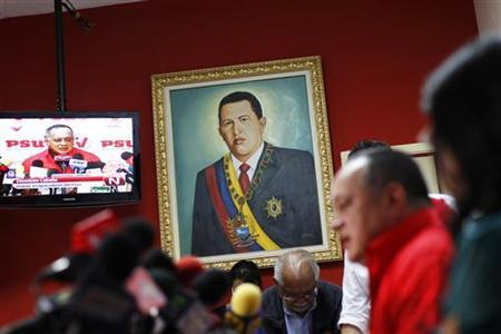 National Assembly President Diosdado Cabello (2nd R) attends the United Socialist Party weekly news conference in Caracas April 23, 2012. REUTERS/Jorge Silva