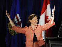 PC Alberta leader Alison Redford reacts after she won the provincial election in Calgary, Alberta, April 23, 2012. REUTERS/Todd Korol