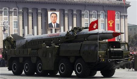 A rocket is carried by a military vehicle during a military parade to celebrate the centenary of the birth of Kim Il-sung in Pyongyang April 15, 2012. REUTERS/Bobby Yip