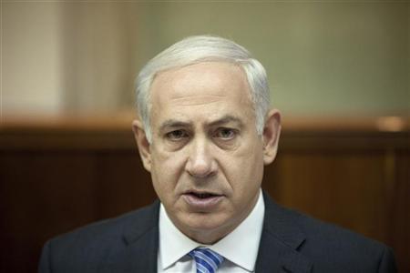 Israel's Prime Minister Benjamin Netanyahu attends the weekly cabinet meeting in Jerusalem April 22, 2012. REUTERS/Uriel Sinai/Pool
