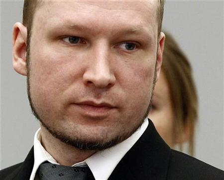 Norwegian anti-Muslim fanatic Anders Behring Breivik looks on during the morning break on the sixth day of his trial in Oslo April 23, 2012. REUTERS/Lise Aserud/NTB Scanpix/Pool