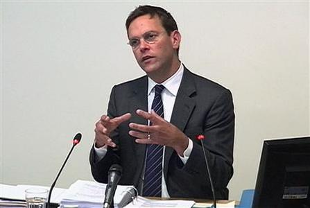 A still image from broadcast footage shows News Corp Deputy Chief Operating Officer, James Murdoch, speaking at the Leveson Inquiry into the culture, practices and ethics of the media at the High Court in London April 24, 2012. REUTERS/POOL via Reuters TV