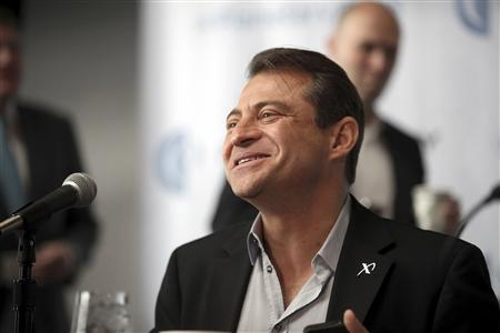 Peter Diamandis, co-founder and co-chairman of Planetary Resources, speaks at a news conference at the Museum of Flight in Seattle, Washington April 24, 2012. Google Inc executives Larry Page and Eric Schmidt and filmmaker James Cameron are among those bankrolling a venture to survey and eventually extract precious metals and rare minerals from asteroids that orbit near Earth, the company said on Tuesday. Planetary Resources, based in Bellevue, Washington, initially will focus on developing and selling extremely low-cost robotic spacecraft for surveying missions. REUTERS/Cliff Despeaux