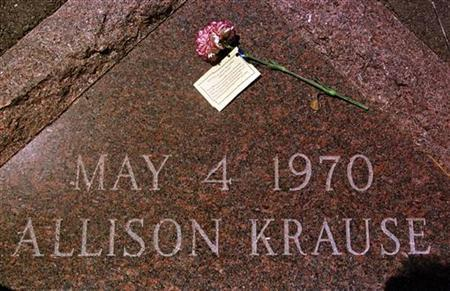 A plaque marks the spot where Kent State University student, Allison Krause, was felled by a bullet from the Ohio National Guard on May 4, 1970 during a demonstration protesting the war in Vietnam. Krause was one of four students killed.