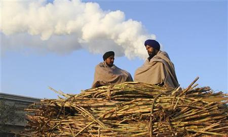 Farmers sit on a heap of sugarcanes loaded on a tractor outside of a sugar mill at Morinda in Punjab December 4, 2011. REUTERS/Ajay Verma/Files
