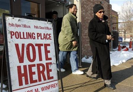 Voters leave a polling station after voting in the Michigan primary election in Detroit, Michigan, January 15, 2008. REUTERS/Rebecca Cook