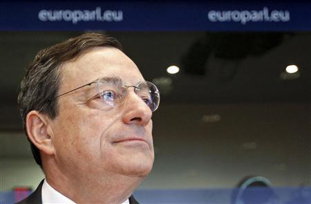 European Central Bank (ECB) President Mario Draghi addresses the European Parliament economic and monetary affairs committee in Brussels April 25, 2012. REUTERS/Yves Herman