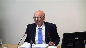 A still image from broadcast footage shows News Corporation Chief Executive and Chairman, Rupert Murdoch, speaking at the Leveson Inquiry into the culture, practices and ethics of the media, at the High Court in London April 25, 2012. REUTERS/POOL via Reuters TV