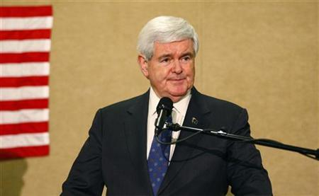 U.S. Republican presidential candidate and former Speaker of the House Newt Gingrich speaks at a rally on the night of the New York, Pennsylvania, Connecticut, Rhode Island and Delaware primaries in Concord, North Carolina April 24, 2012. REUTERS/Chris Keane