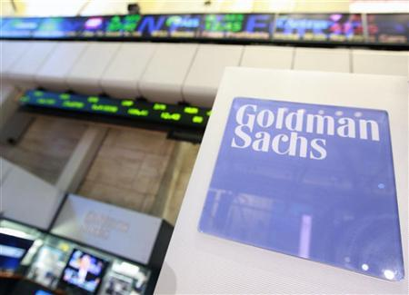 A Goldman Sachs sign is seen on the floor of the New York Stock Exchange, April 16, 2012. REUTERS/Brendan McDermid
