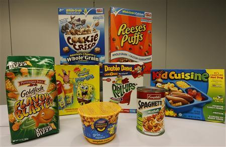 Foods marketed towards young children that meet and are declared nutritional by the government food guidelines advocated by the food industry are seen at the Center for Science in the Public Interest in Washington, April 24, 2012. REUTERS/Jim Bourg